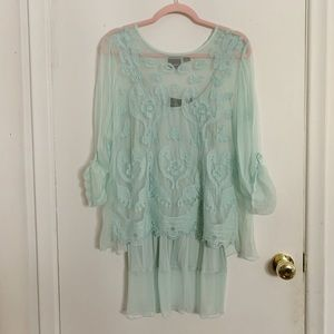 Turquoise mesh lace top